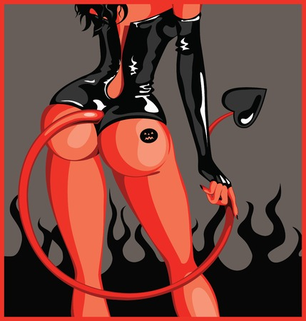 female devil: Vector illustration of attractive devils girl standing back to you
