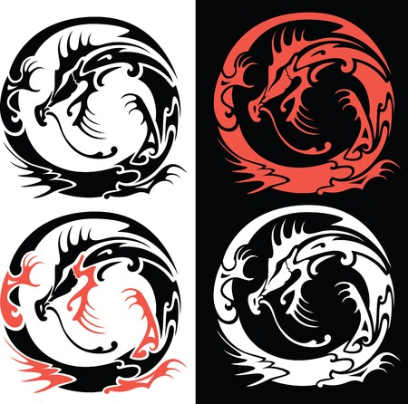 dragon tattoo: Vector illustration of four options of Chinese Dragon Illustration