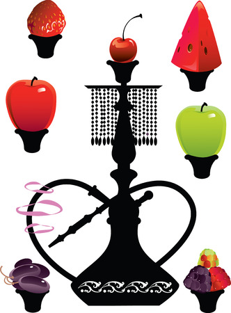 waterpipe: Vector illustration of a traditional Arabian hookah