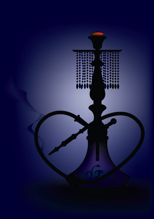smokers: Vector illustration of a traditional Arabian hookah