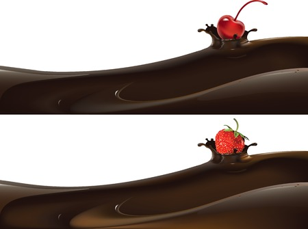 Vector illustration of strawberry dropped into liquid milk or chocolate