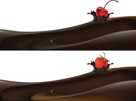 Vector illustratie van aardbei neergezet in vloeibare melk of chocolade