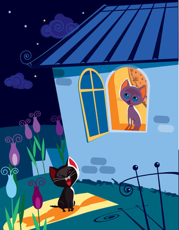 serenade: Vector illustration of funny cat singing serenade to his girlfriend