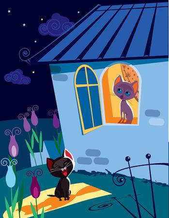 cat open: Vector illustration of funny cat singing serenade to his girlfriend