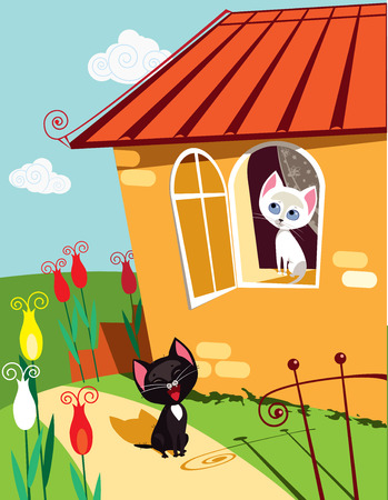 flowers cat: Vector illustration of funny cat singing serenade to his girlfriend