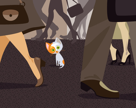 homelessness: Vector illustration of alone homeless kitty in humans crowd
