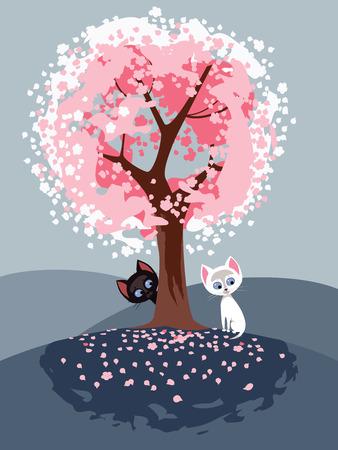 flowering: Vector illustration of two kiutties under flowering tree in spring time