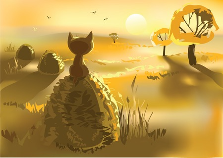 haystack: Vector illustration of lonely kitty sitting on a haystack at dusk