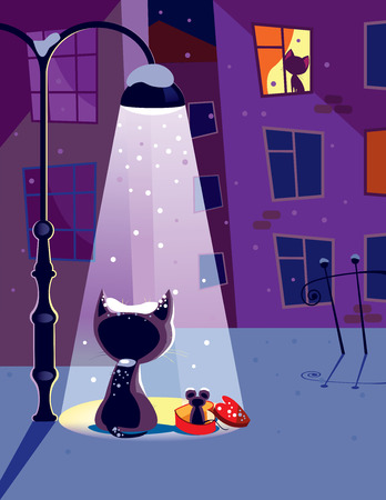 ligh: Vector illustration of a young cat waiting for his girlfriend with funny gift Illustration