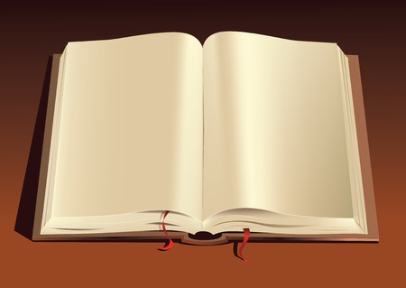 Vector illustration of an open textbook with empty pages Illustration