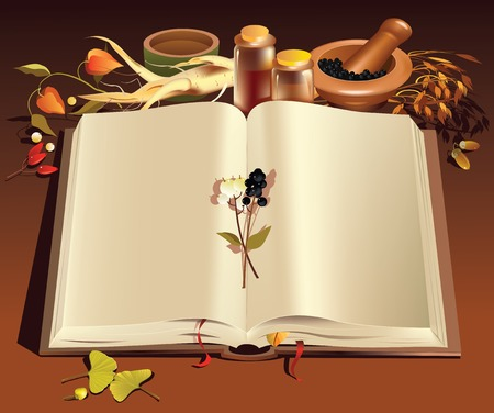 Textbook with clear pages decorated with plants related to healthcare Illustration