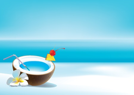 warmness: Vector illustration of coconut cocktail on a beach