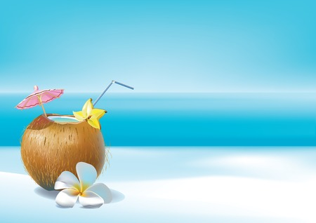 non urban scene: Vector illustration of coconut cocktail on a beach