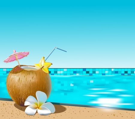 Vector illustration of coconut cocktail on swimming pool side Çizim