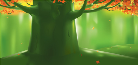 Vector illustration of deep forest tree at autumn