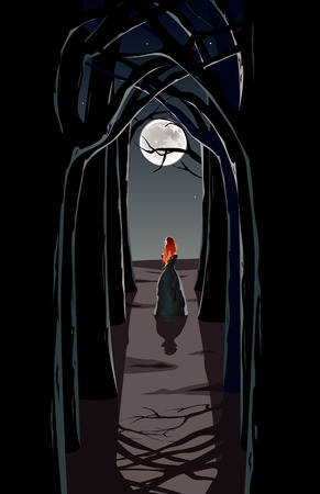 Vector illustration of girl walking through a mysterious dark forest Vector