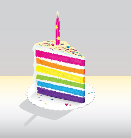 Vector illustration of rainbow cake on paper plate