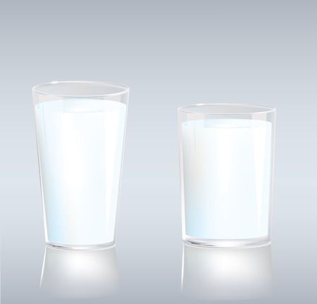 glass cup: Vector illustration of set of two cups of milk in different sizes and shapes Illustration