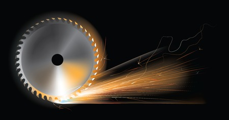 Vector illustration of sparks from rotating circular saw disc