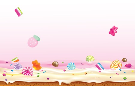sweet treats: Vector illustration of candies falling down to cream