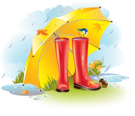 가을 우산 아래에 숨어있는 고무 장화의 벡터 일러스트 레이 션