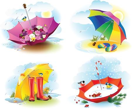 estaciones del a�o: Ilustraci�n vectorial de cuatro paraguas como s�mbolos de las estaciones meteorol�gicas. Vectores
