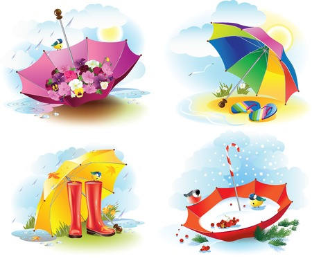 Vector illustration of four umbrellas as symbols of weather seasons. Çizim