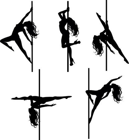 Vector illustratie van pole dansers silhouetten in verschillende poses