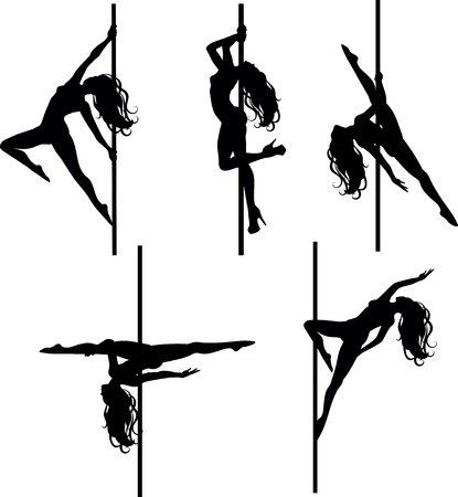 flexible woman: Vector illustration of pole dancers silhouettes in different poses Illustration