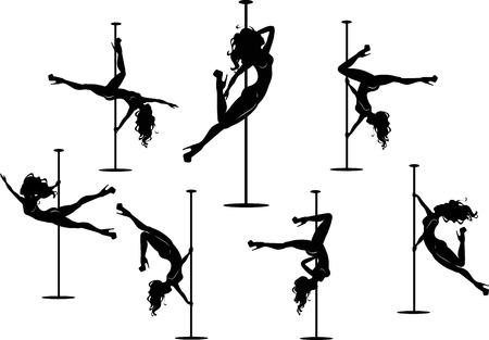 Ilustración vectorial de la pole siluetas de bailarines en diferentes poses