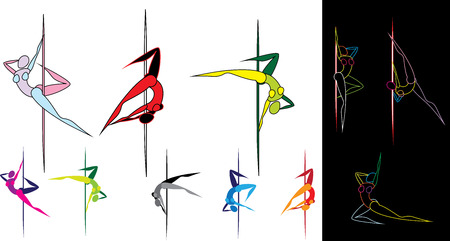 flexible sexy: Vector illustration of pole dancers silhouettes in different poses Illustration