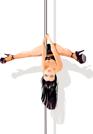 female stripper: Vector illustration of a young woman as pole dancer upside down