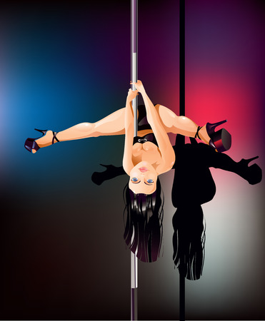 Vector illustration of a young woman as pole dancer upside down