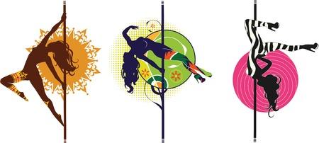 polo: Ilustración vectorial de la pole siluetas de bailarines en diferentes poses
