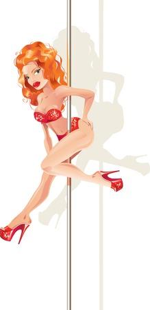 Vector illustration of redhead woman on a pole Illustration