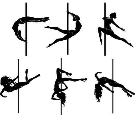Vector illustration of pole dancers silhouettes in different poses Çizim