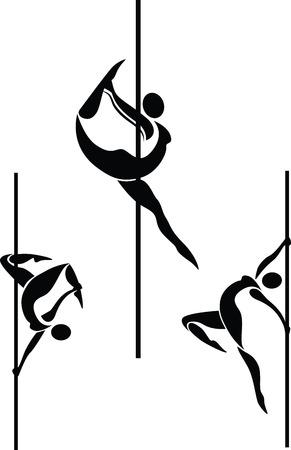 acrobacia: Ilustración vectorial de la pole siluetas de bailarines en diferentes poses
