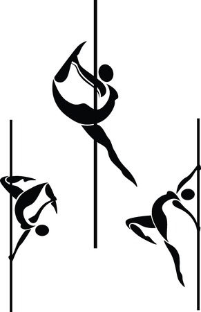Vector illustration of pole dancers silhouettes in different poses Ilustração