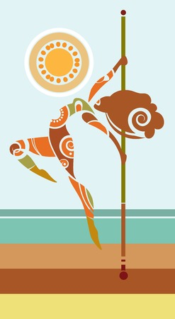 Vector illustration of pole dancer in tribalistic style Illustration