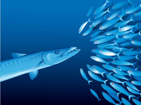 Ilustracji wektorowych z ławicy ryb w głębokości wody