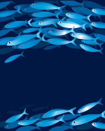 Vector illustration of shoal of fishes in water depth