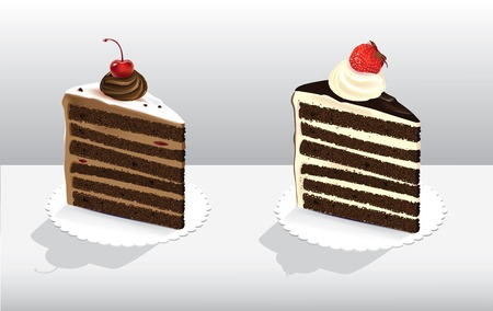 Vector illustration of two pieces of cakes decorated with berries