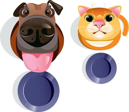 gran angular: Ilustraci�n vectorial de divertido gato y perro pidiendo comida