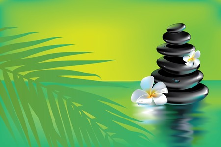 Vector illustration of stack of spa stones in tropics