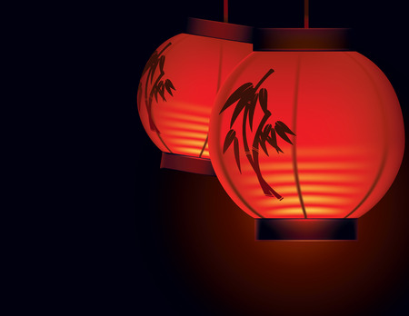 Vector illustration of two red paper lanterns