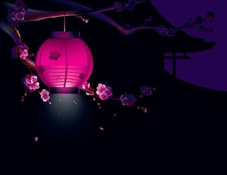 papierlaterne: Vektor-Illustration von Sakura und Papierlaterne