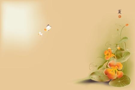 esquineros de flores: Ilustraci�n del vector de la flor de loto y la mariposa en estilo de la pintura tradicional japonesa