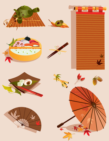 Vector illustration of set of objects related to Japanese traditional kitchen