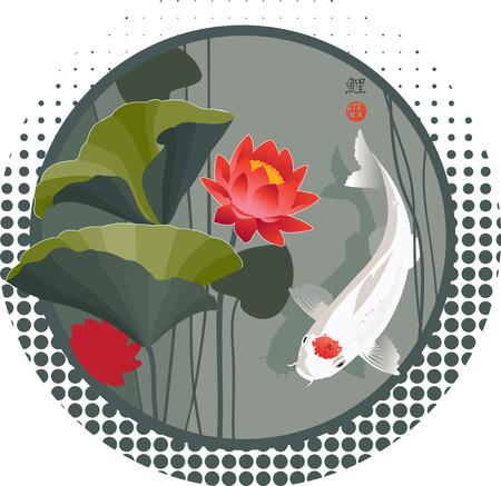Ilustración del vector del Sagrado japonés Koi carpa y flor de loto en el fondo de forma redonda Foto de archivo - 40223689