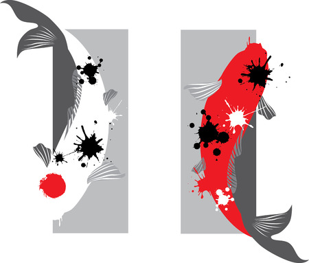 red  fish: Artistic vector illustration of koi carps couple in water